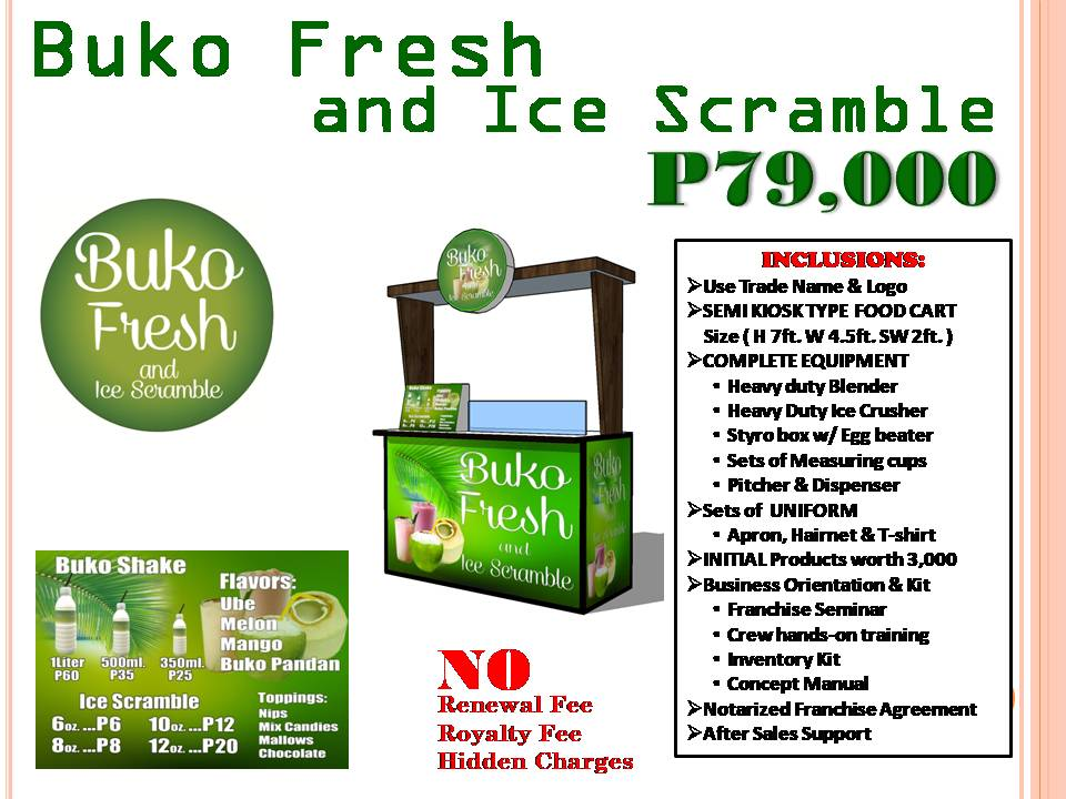 Buko Fresh and Ice Scramble Food Cart Franchise